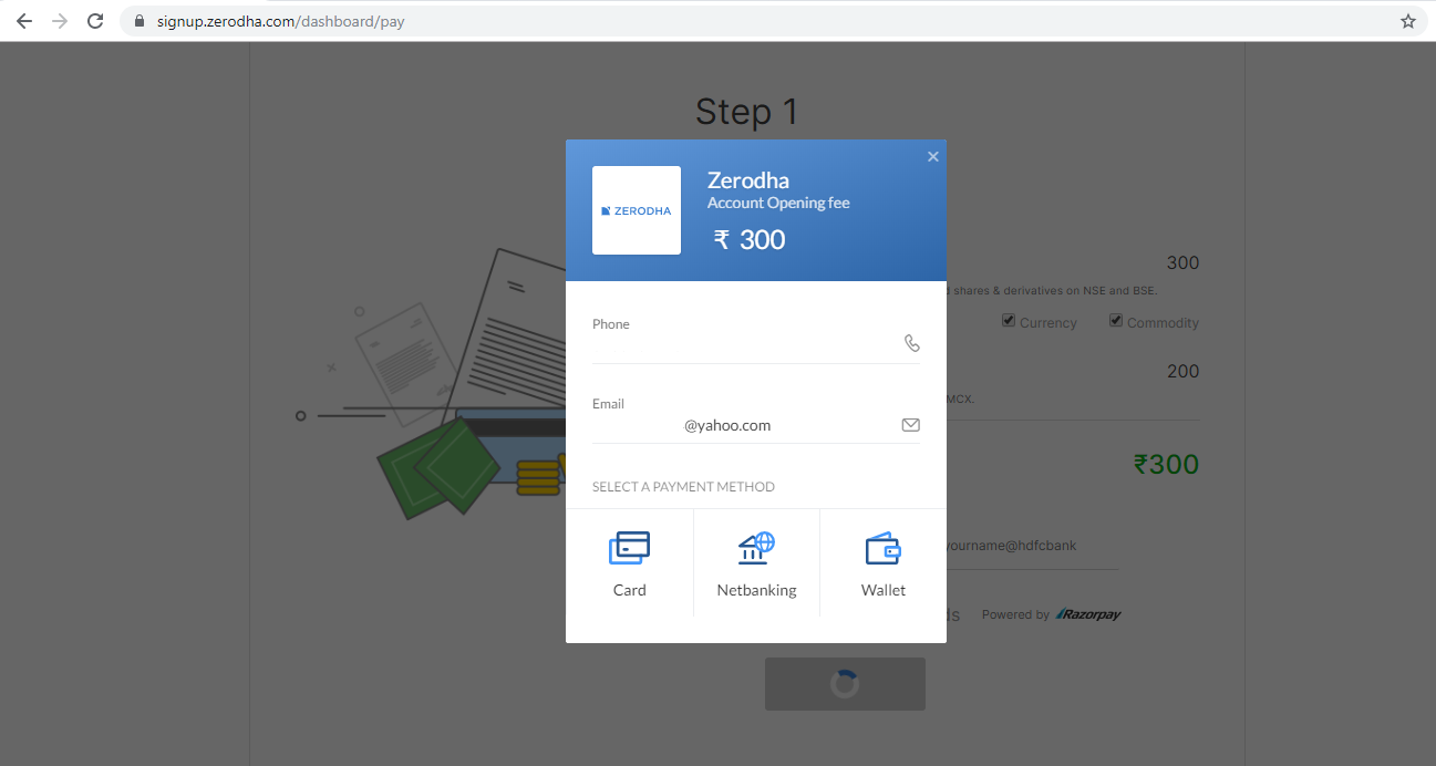 zerodha account opening payment option