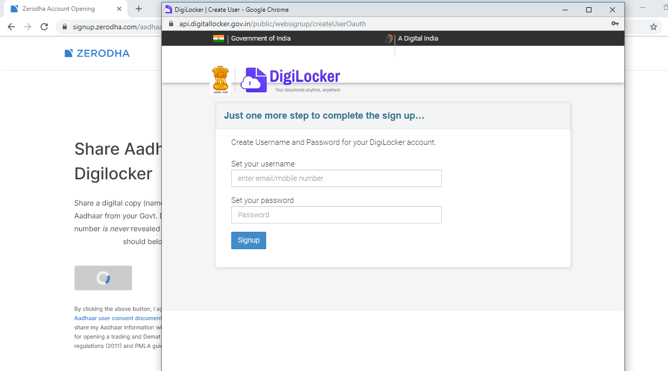 set digilocker for zerodha