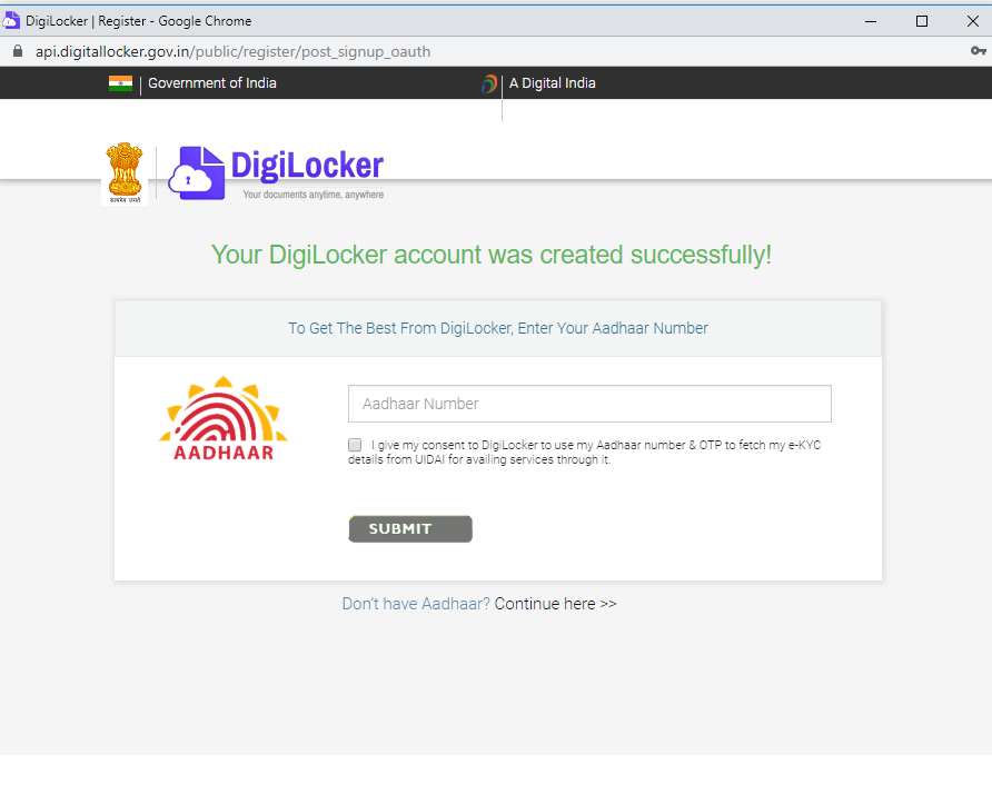 otp for digilocker zerodha