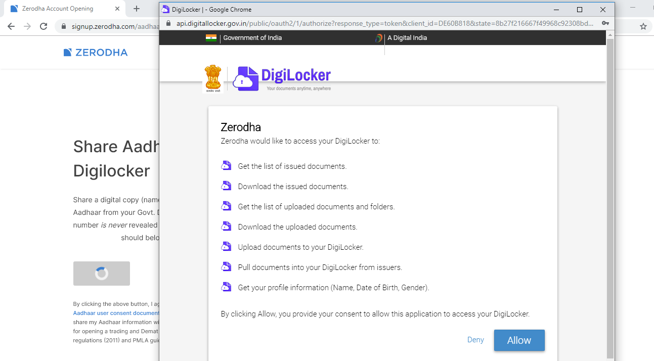 allow zerodha for digilocker