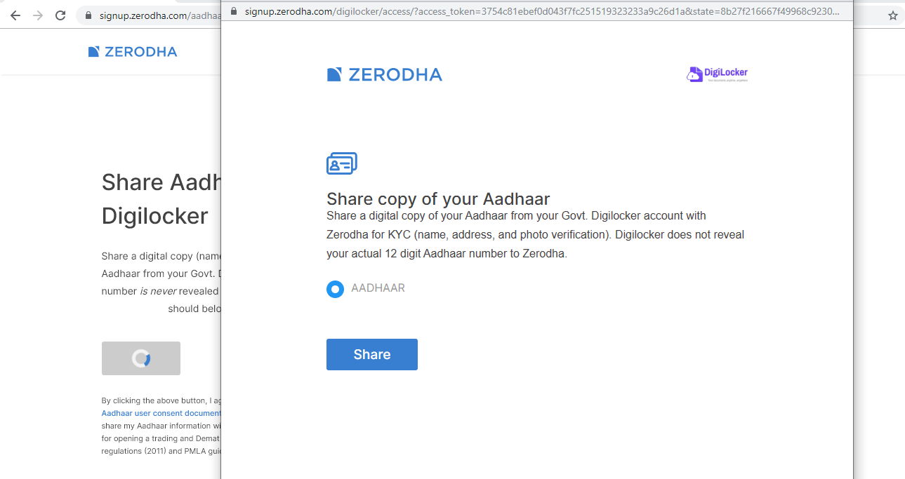 share aadhar details with zerodha