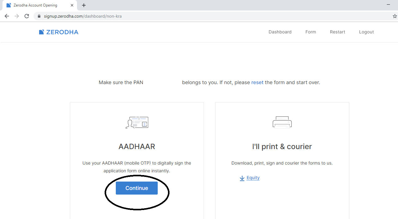 off line zerodha account form download