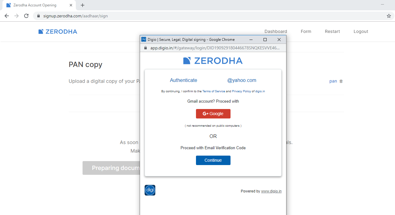 esign zerodha form online