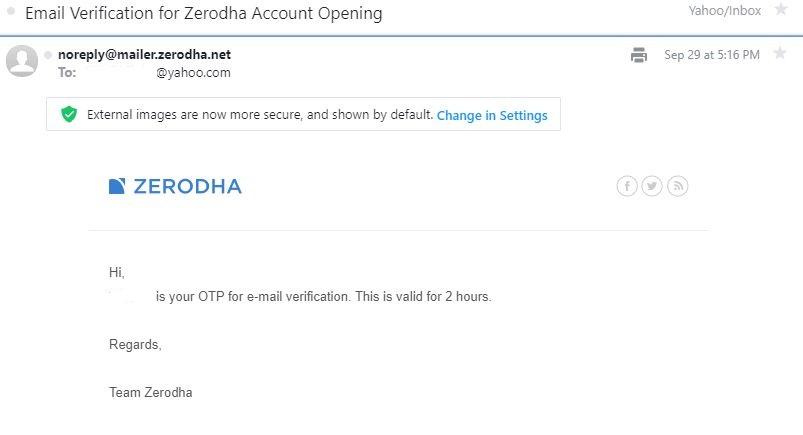 email verification zerodha