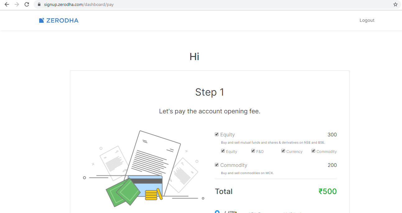 Zerodha account opening fee